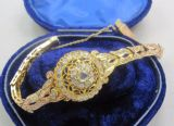 Stunning mid Victorian Rose Diamond Gold Bracelet 7.5 inches